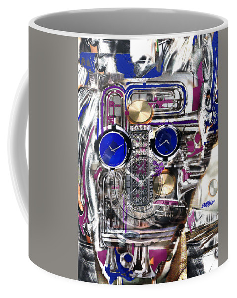 Robotic Time Traveller Coffee Mug featuring the digital art Old Blue Eyes by Seth Weaver