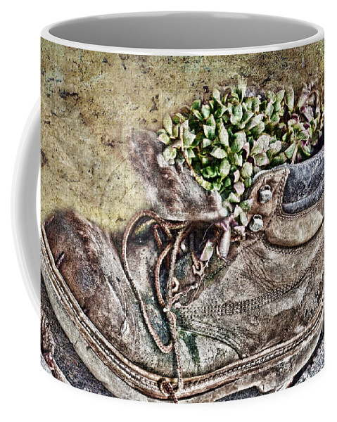 Nature Coffee Mug featuring the photograph Old Boot Flowerpot by Debbie Portwood
