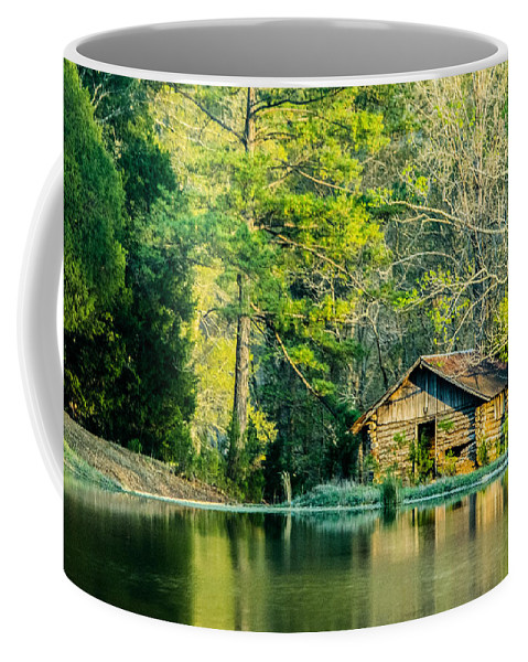 Cabin Coffee Mug featuring the photograph Old Cabin By The Pond by Parker Cunningham