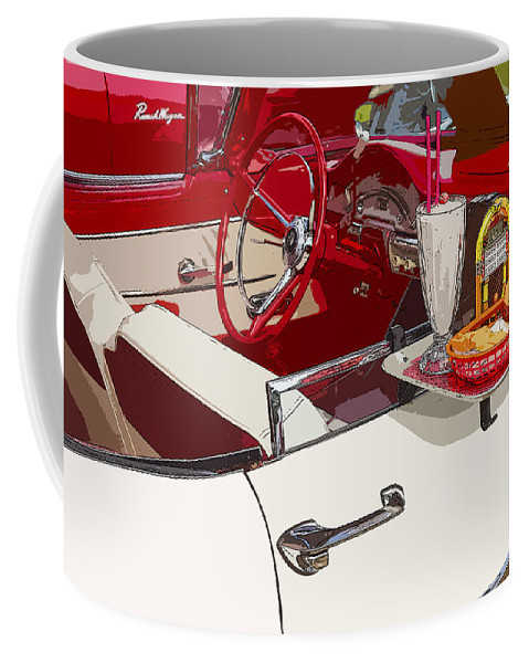 Drive-in Coffee Mug featuring the photograph Old Car At Drive In Restaurant by Keith Webber Jr