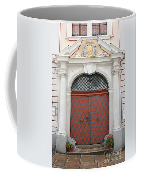 Door Coffee Mug featuring the photograph Old Carved Red Door by Christiane Schulze Art And Photography