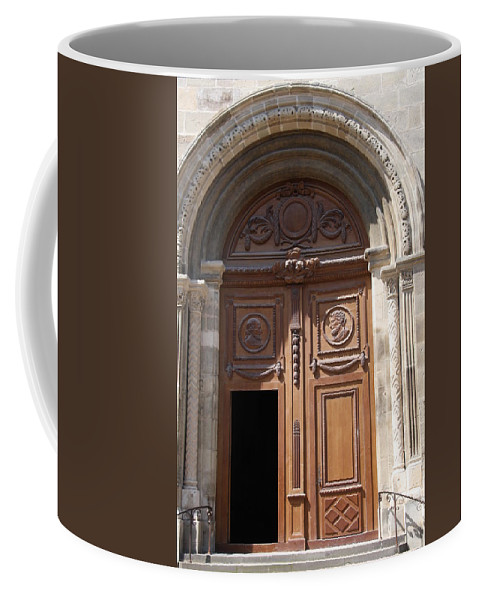 Door Coffee Mug featuring the photograph Old Church Door Cathedral Autun by Christiane Schulze Art And Photography