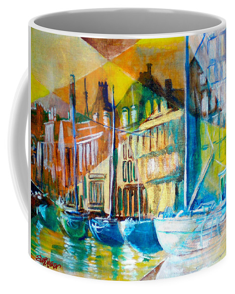 Old World Street Coffee Mug featuring the painting Old Copenhagen Thru Stained Glass by Seth Weaver