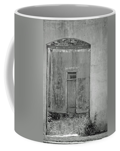 Black And White Coffee Mug featuring the photograph Old Doorway Bw by Lucy Bounds