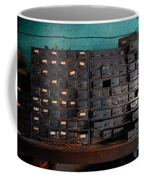 Antique Coffee Mug featuring the photograph Old Drawers by Amy Cicconi