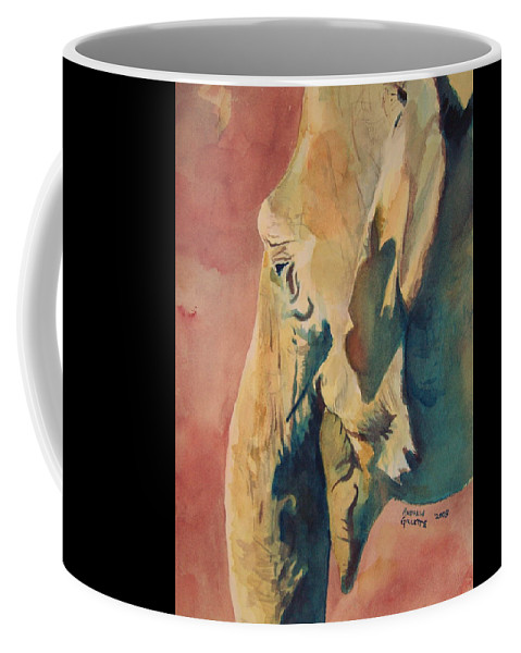 Elephant Coffee Mug featuring the painting Old Elephant by Andrew Gillette