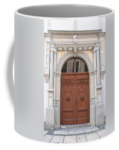 Door Coffee Mug featuring the photograph Old Entrance Door With Lionheads by Christiane Schulze Art And Photography