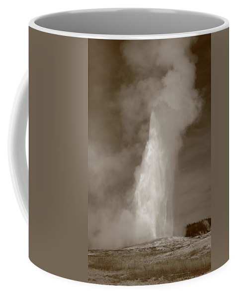 America Coffee Mug featuring the photograph Old Faithful - Yellowstone Park In Sepia by Frank Romeo