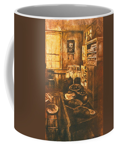 Kitchen Coffee Mug featuring the drawing Old Fashioned Kitchen Again by Kendall Kessler