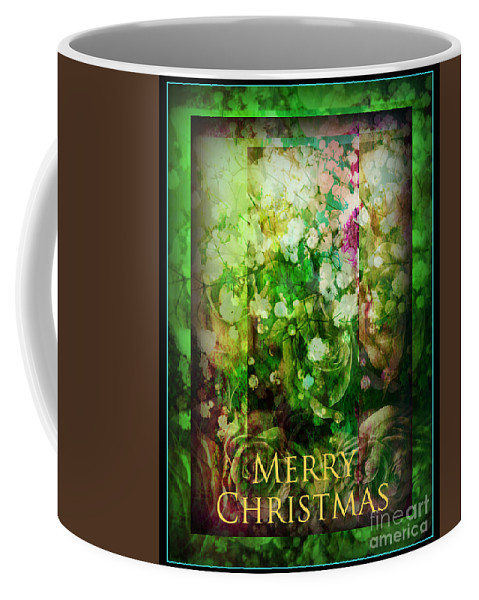 Old Fashioned Coffee Mug featuring the photograph Old Fashioned Merry Christmas - Roses And Babys Breath - Holiday And Christmas Card by Miriam Danar