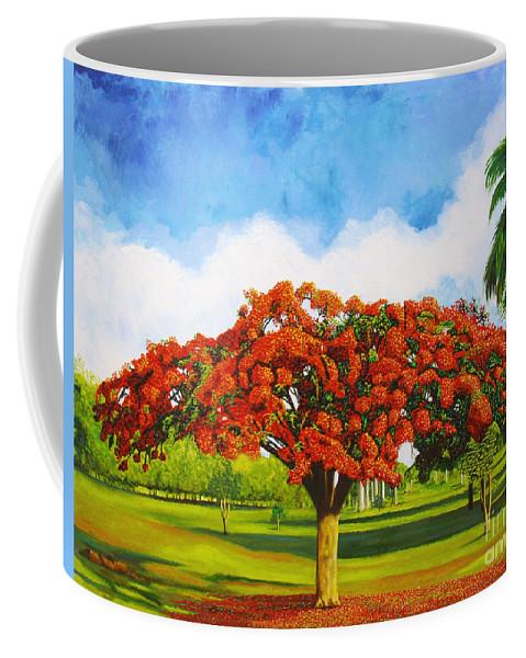 Cuba Art Coffee Mug featuring the painting Old Flamboyan by Jose Manuel Abraham