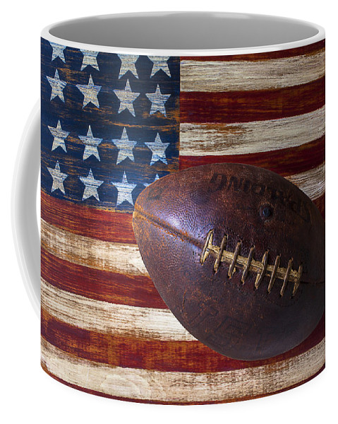 Football Coffee Mug featuring the photograph Old Football On American Flag by Garry Gay