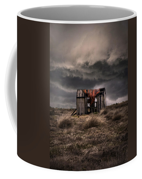 Hut.shade Coffee Mug featuring the photograph Old Forgotten Shade With Red Fish Net by Jaroslaw Blaminsky