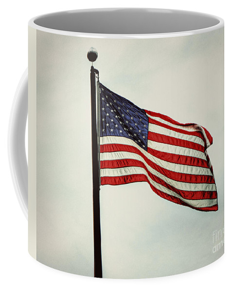 American Flag Coffee Mug featuring the photograph Old Glory In The Wind by Emily Kay