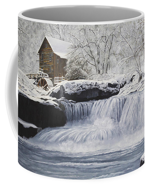 Winter Coffee Mug featuring the painting Old Grist Mill by Johanna Lerwick