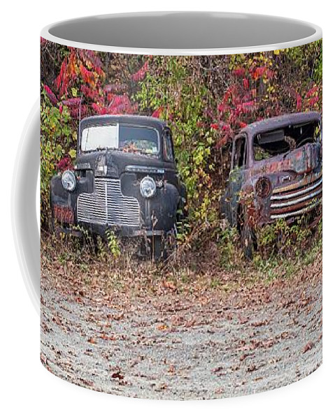 Automobile Coffee Mug featuring the photograph Old Guys Rule Panoramic by Edward Fielding