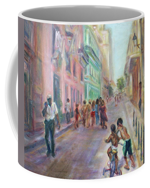 Impressionism Coffee Mug featuring the painting Old Havana Street Life - Sale - Large Scenic Cityscape Painting by Quin Sweetman