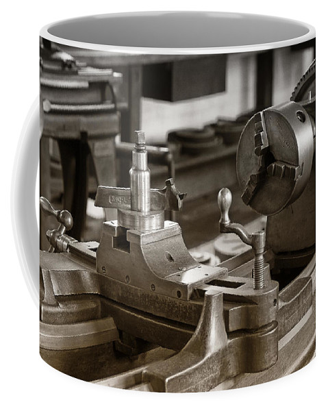 Lathe Coffee Mug featuring the photograph Old Lathe by Debby Richards