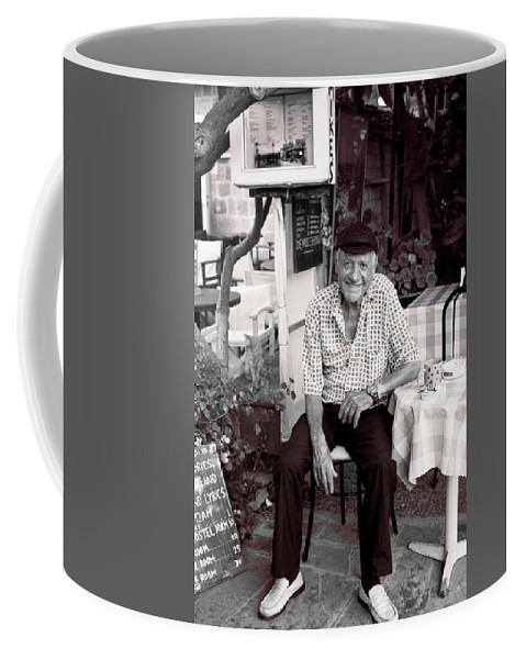 The Island Of Rhodes Coffee Mug featuring the photograph Old Man Of Old Town by Lorraine Devon Wilke