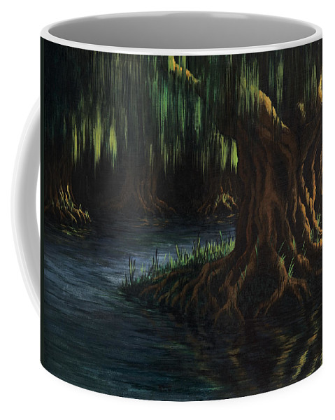 Abstract Coffee Mug featuring the painting Old Man Willow by Rachel Christine Nowicki