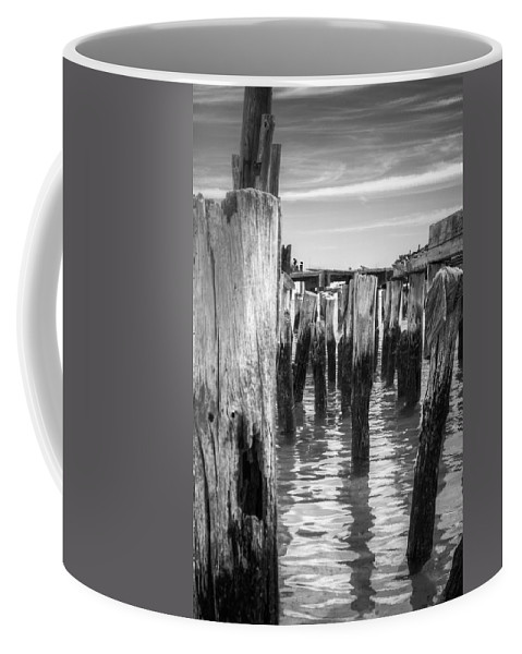 B&w Coffee Mug featuring the photograph Old Pier In Provincetown Cape Cod by Brian Caldwell