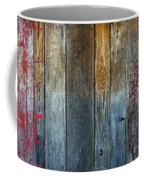Old Reclaimed Wood Coffee Mug featuring the photograph Old Reclaimed Wood - Rustic Red Painted Wall by Rebecca Korpita