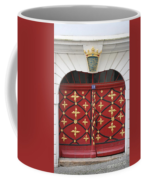 Door Coffee Mug featuring the photograph Old Red Door by Christiane Schulze Art And Photography