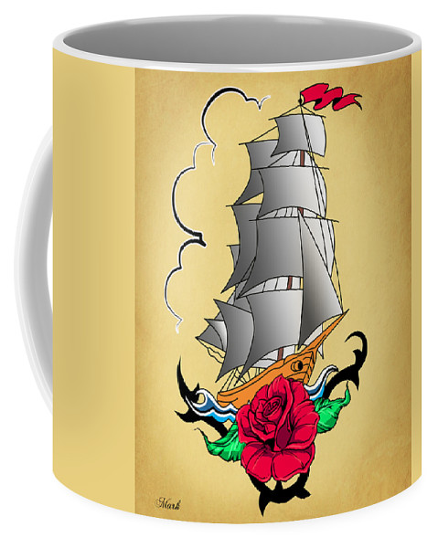 Ship Coffee Mug featuring the painting Old Ship Tattoo by Mark Ashkenazi