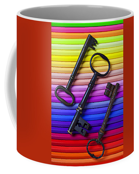 Key Coffee Mug featuring the photograph Old Skeleton Keys On Rows Of Colored Pencils by Garry Gay