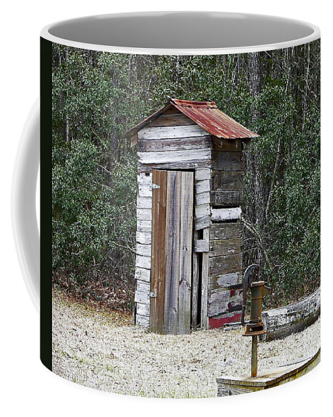 Outhouse Coffee Mug featuring the photograph Old Time Outhouse And Pitcher Pump by Al Powell Photography USA