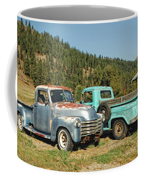 Trucks Coffee Mug featuring the photograph Old Timers by Donna Blackhall