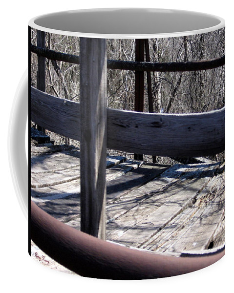 Carpenter's Bridge Coffee Mug featuring the photograph Old Timey Foot Bridge by Amy Hosp