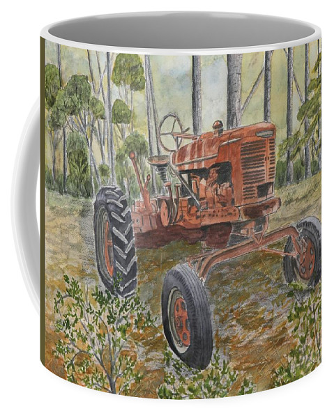 Old Coffee Mug featuring the painting Old Tractor Vintage Art by Derek Mccrea