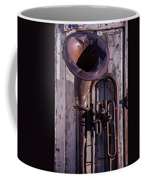 Old Coffee Mug featuring the photograph Old Tuba On Worn Door by Garry Gay