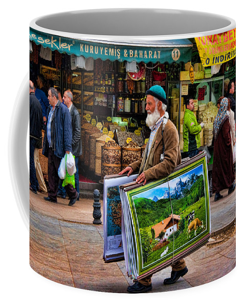 Posters Coffee Mug featuring the photograph Poster Man At The Istanbul Spice Market by David Smith
