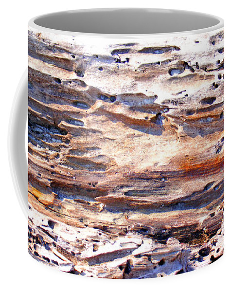 Wood Coffee Mug featuring the photograph Old Weathered Log On The Sea Shore by Duane McCullough
