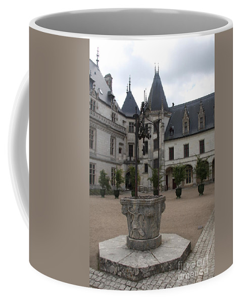 Palace Coffee Mug featuring the photograph Old Well And Courtyard Chateau Chaumont by Christiane Schulze Art And Photography