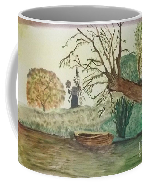 Old Willow Coffee Mug featuring the painting Old Willow And Boat by Tracey Williams