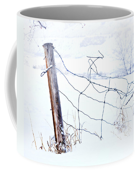 Winter Coffee Mug featuring the photograph Old Wire Fence by Theresa Tahara
