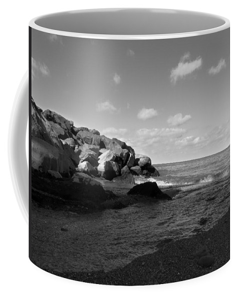 Old Woman Creek Coffee Mug featuring the photograph Old Woman Creek - Black And White 3 by Shawna Rowe