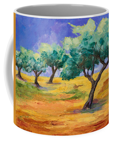 Olive Tree Grove Coffee Mug featuring the painting Olive Trees Grove by Elise Palmigiani