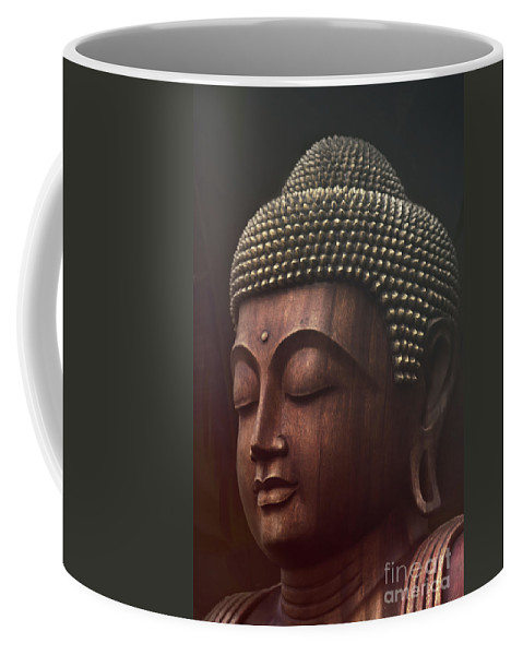 Buddha Coffee Mug featuring the photograph Om Mani Padme Hum - Buddha by Sharon Mau