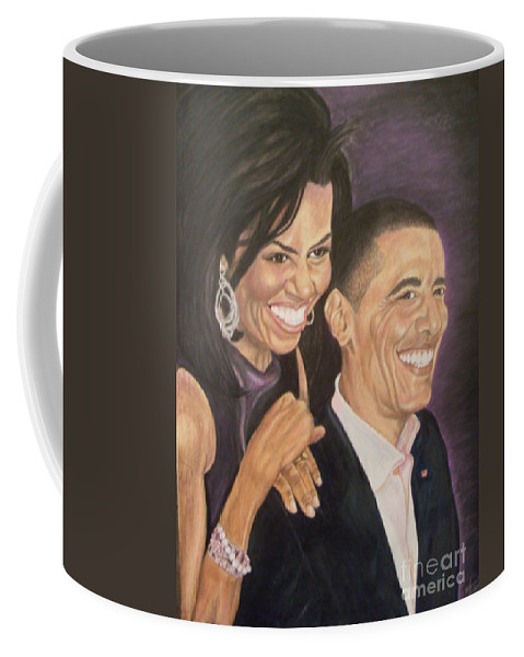Portraits Coffee Mug featuring the painting Ombience Of Love The Obama by Arron Kirkwood