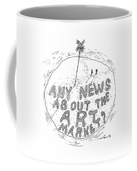 Captionless Desert Island Coffee Mug featuring the drawing On A Desert Island by Michael Crawford