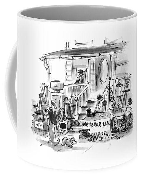 Memorabilia Coffee Mug featuring the drawing On A Front Lawn A Yard Sale Sign Reads by Lee Lorenz
