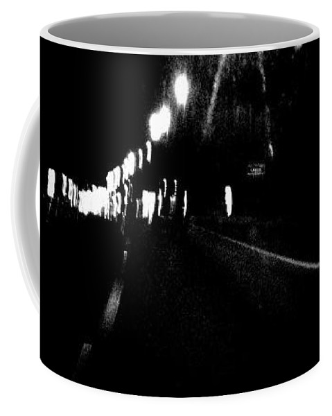 Black Coffee Mug featuring the photograph On A Late Night Drive by Jennifer Rose Hill