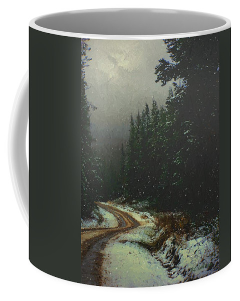 Landscape Coffee Mug featuring the painting On A Snowy Evening by RC DeWinter