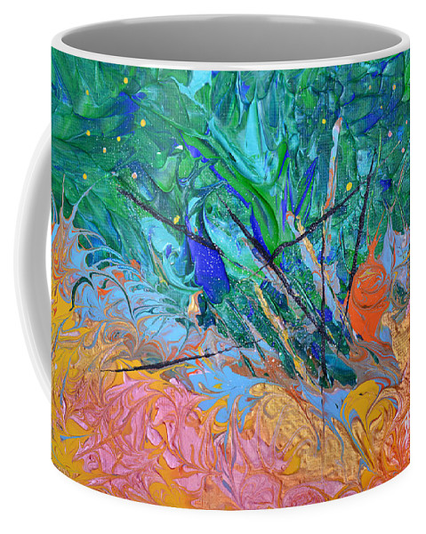 Vibrant Abstract Coffee Mug featuring the painting On Fire by Donna Blackhall
