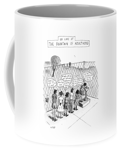 On Line At The Fountain Of Adulthood  (children Line Up At Drinking Fountain Coffee Mug featuring the drawing On Line At The Fountain Of Adulthood: Watch by Roz Chast