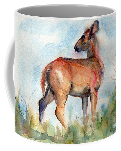 Deer Painting Coffee Mug featuring the painting On Second Thought by Maria's Watercolor